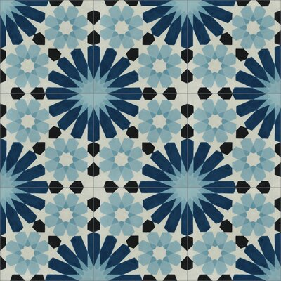 Tangier 8 x 8 Cement Field Tile in Blue/Black/Cream