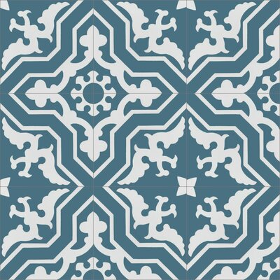 Talia Twilight 8 x 8 Cement Field Tile in Blue/White