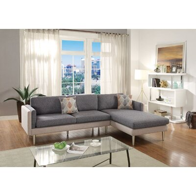 Lucchesi Reversible Sectional Upholstery: Ash/Black