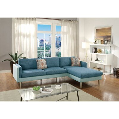Lucchesi Reversible Sectional Upholstery: Blue/Aqua