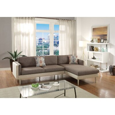 Lucchesi Reversible Sectional Upholstery: Coffee/Platinum
