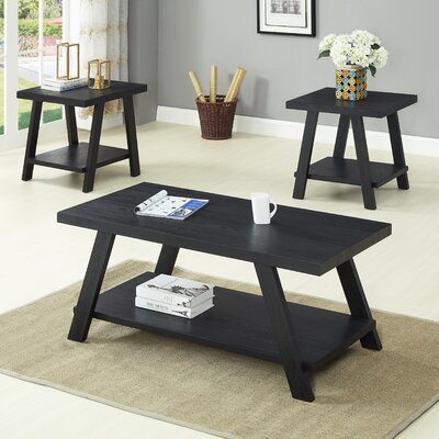 Filipek 3 Piece Coffee Table Set Color: Black