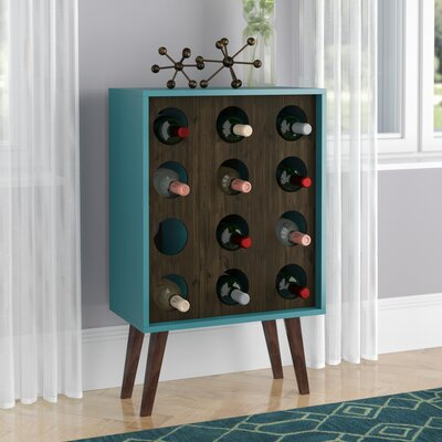 Kory 12 Bottle Floor Wine Cabinet and Display Color: White/Rustic Brown