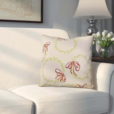 Holiday Simple Wreath Outdoor Throw Pillow Size: 18 H x 18 W, Color: Light Green