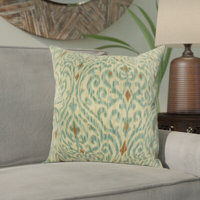 Emmaus Ikat Cotton Throw Pillow Color: Aqua Cocoa