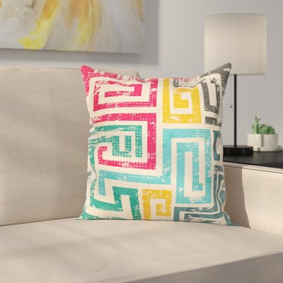 Vintage Spiral Square Cushion Pillow Cover Size: 18 x 18