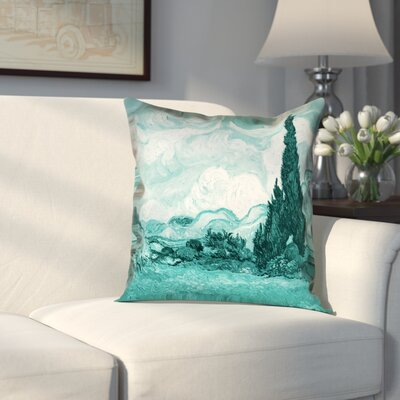 Woodlawn Wheatfield with Cypresses Cotton Pillow Cover Size: 16 H x 16 W, Color: Teal