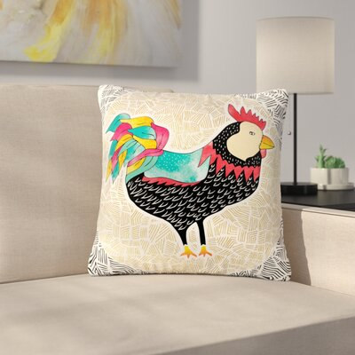 Pom Graphic Design Cuckaroo Rooster Outdoor Throw Pillow Size: 16 H x 16 W x 5 D