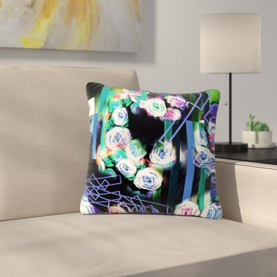 Dawid Roc Cool Roses-Floral Stripes Outdoor Throw Pillow Size: 18 H x 18 W x 5 D