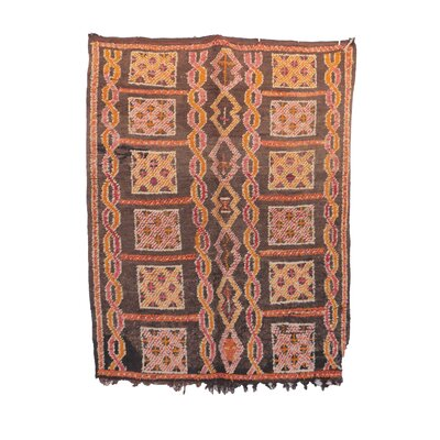 One-of-a-Kind Boujad Moroccan Hand-Knotted Wool Brown/Pink Area Rug