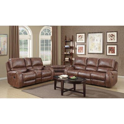 Stampley Leather Air Nailhead Manual Reclining Living Room Set with Storage Console and USB Port