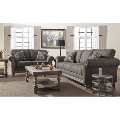 Hubbert Contemporary Textured Fabric Wood Frame Leather Living Room Set