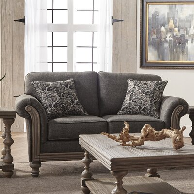 Hubbert Contemporary Textured Fabric Wood Frame Standard Loveseat