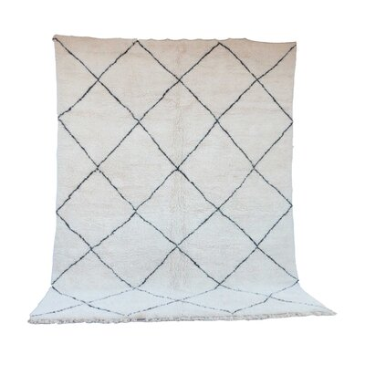 One-of-a-Kind Beni Ourain Moroccan Hand-Knotted Wool White Area Rug