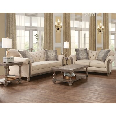 Larrick Fabric Tufted Leather Living Room Set
