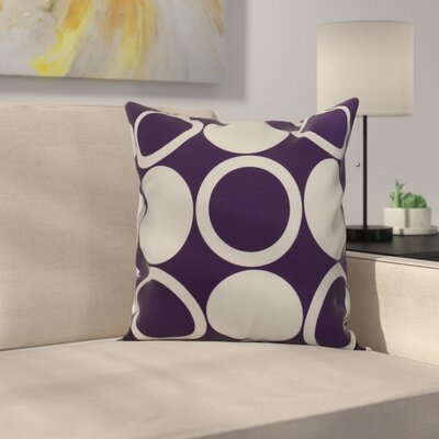 Meekins Mod Circles Geometric Print Indoor/Outdoor Throw Pillow Color: Purple, Size: 16 x 16
