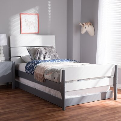 Albali Twin Platform Bed Color: White/Dark Gray