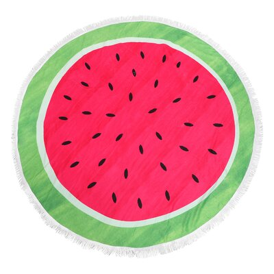 Oanh Watermelon Round Fringe Beach Towel