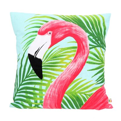 Lynnhaven Flamingo Cotton Throw Pillow