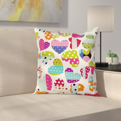 Heart Patches and Dots Square Pillow Cover Size: 16 x 16