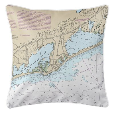 Ebeling Quonochontaug RI Nautical Chart Throw Pillow