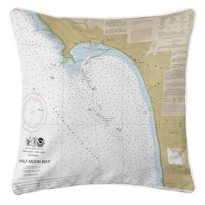 Eberly Half Moon Bay CA Nautical Chart Throw Pillow