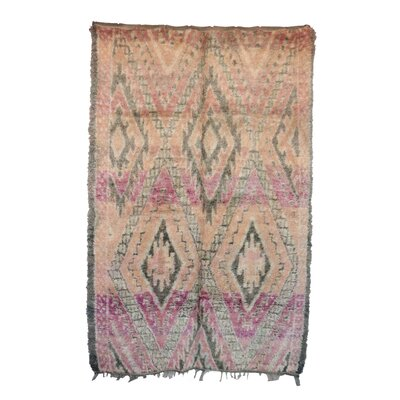 One-of-a-Kind Beni MGuild Moroccan Hand-Knotted Wool Brown/Pink Area Rug