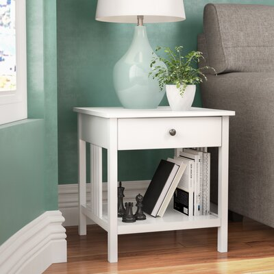 Bechtel Mission Style Wood End Table Color: White