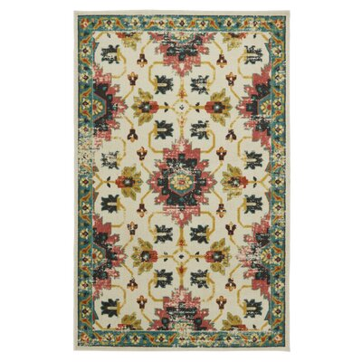Dario Ivory/Teal Area Rug Rug Size: Rectangle 5 x 8