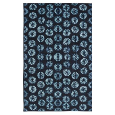 Hallberg Dyed Circles Navy Area Rug Rug Size: Rectangle 5 x 8