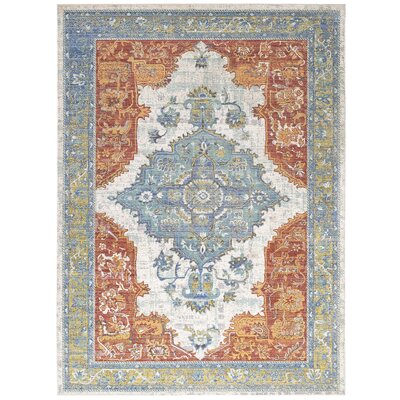 Ponce Distressed Oriental Aztec Orange/Blue Area Rug Rug Size: Rectangle 8 x 10
