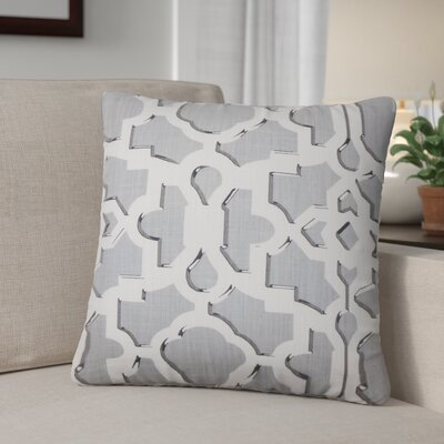 Freeburg Geometric Cotton Throw Pillow Color: Graystone