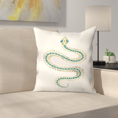 Serpent Skelet on Emerald  Throw Pillow Size: 16 x 16
