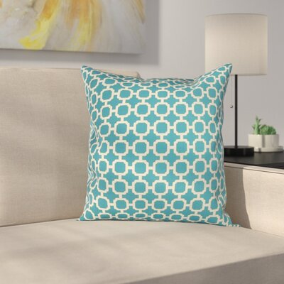 Burville Indoor/Outdoor Polyester Throw Pillow Color: Teal/White