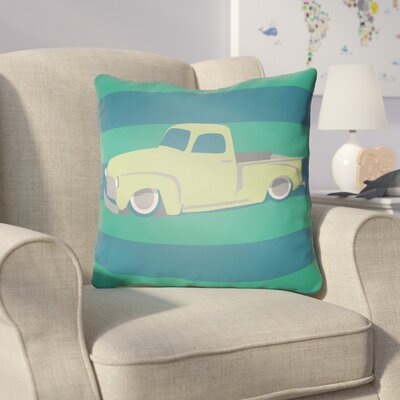Colinda Car Throw Pillow Size: 20 H x 20 W x 4 D, Color: Green/Blue