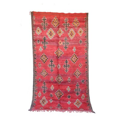 One-of-a-Kind Boujad Moroccan Hand-Knotted Wool Red Area Rug