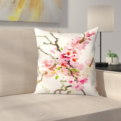 Suren Nersisyan Cherry Blossom, Sakura 2 Throw Pillow Size: 14 x 14