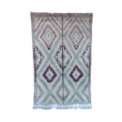 One-of-a-Kind Beni Ourain Moroccan Hand-Knotted Wool Purple/Aqua Area Rug
