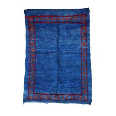 One-of-a-Kind Beni MGuild Moroccan Hand-Knotted Wool Blue Area Rug