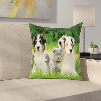Dog Puppy Family Pillow Cover Size: 18 x 18