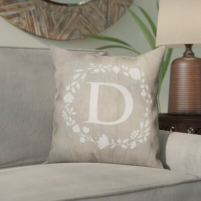 Orme Wreath Monogram Throw Pillow Letter: D