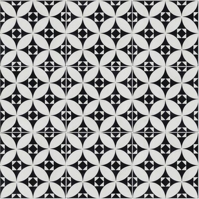 Saint Marks Morning 8 x 8 Cement Field Tile in Black/White