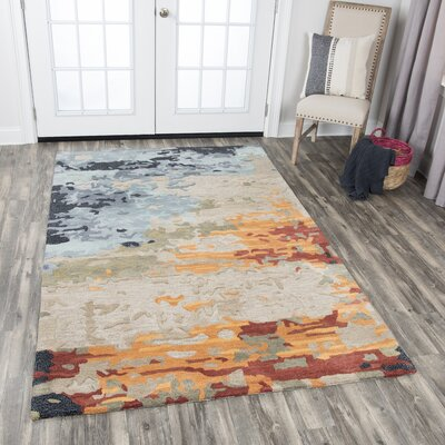 Gomes Hand-Tufted Wool Tan Area Rug Rug Size: Rectangle 26 x 8