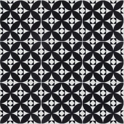 Saint Marks Evening 8 x 8 Cement Field Tile in Black/White