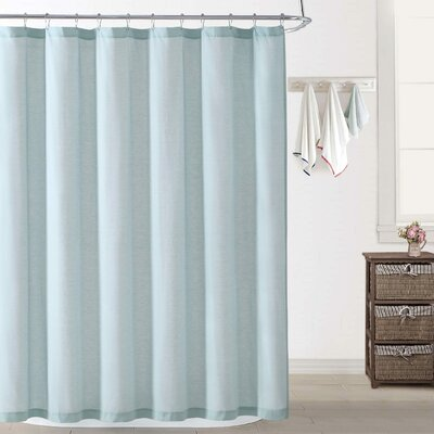 Woods Chambray Shower Curtain Color: Aqua
