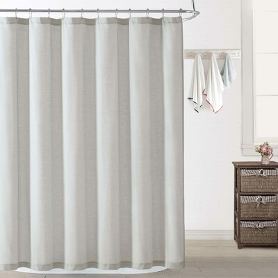 Woods Chambray Shower Curtain Color: Silver Gray