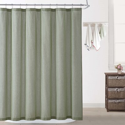 Woods Chambray Shower Curtain Color: Green