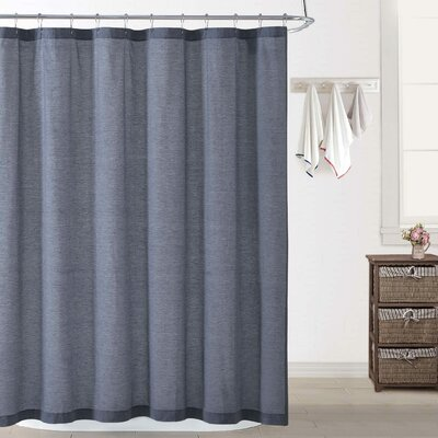 Woods Chambray Shower Curtain Color: Blue