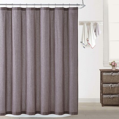 Woods Chambray Shower Curtain Color: Plum