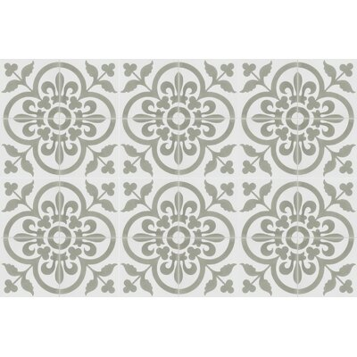 Raylen A 8 x 8 Cement Field Tile in White/Gray